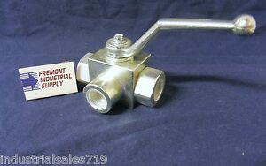 Hydraulic Ball Valve 3 Way 1 4 Npt 5800 Psi Italian Import