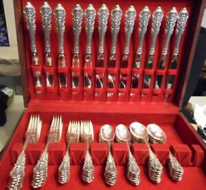 Vintage 1936 Wallace Sterling Silver Flatware Set Sir Christopher Service For 12