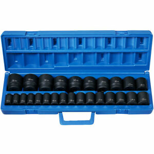 Grey Pneumatic 1326m 26 Piece 1 2 Drive Shallow Metric Impact Socket Set
