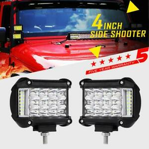 Pair Tri Row 4 95w Side Shooter Cree Led Light Pods Offroad Truck Pickup 3 5 7