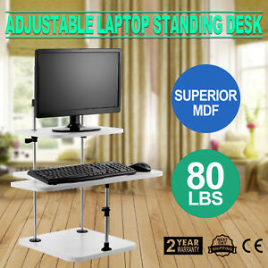 Height Width Adjustable Standing Desk Computer Sit Stand Up Desk 3 Layers