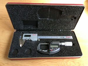 Starrett Metric Micrometer Digital Caliper Set Used Good Condition