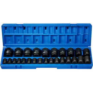 Grey Pneumatic 1726m 26 Pc 1 2 Drive 12 Point Shallow Metric Impact Socket Set