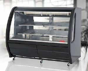 New Black 56 Curved Glass Deli Bakery Display Case Refrigerated Casters Tor Rey
