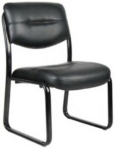 Boss Black Leather Guest Chairs Leatherplus Office Task Lobby Visitor Side Chair