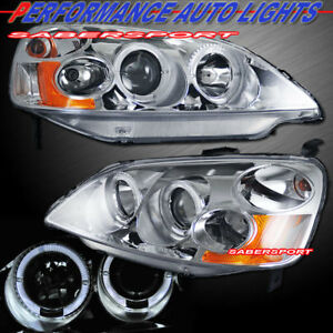 Pair Projector Headlights W Halo Rims For 2001 2003 Honda Civic Coupe