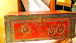 Antique Chinese Wood Red Painted Carved Flowers Chest Cabinet