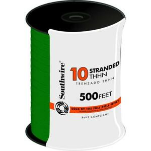 Southwire 500 Ft Indoor 10 Gauge Green Stranded Cu Thhn Cable Electrical Wire