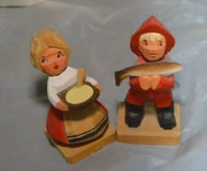 Henning Fisherman Figure And Woman With Bowl Handcarved Wooden Figure