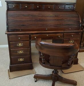 Ethan Allen Roll Top Desk Chair Old Tavern Antique Pine Local Pickup Only