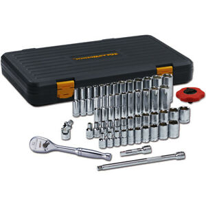 Gearwrench 80300p 1 4 Drive 51 Piece 6 Point Socket Set Sae And Metric Set