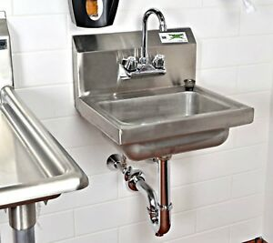 Kitchen Sink Wall Mount 17 X 15 Hand Wash Stainless Steel Commercial Dish Washer