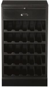 Bar Cabinet Wine Rack Liquor Storage Adjustable Shelves Wood Furniture