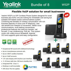 Yealink W52p 8 pack Sip Cordless Phone Ip Dect Phone Handset Base Unit