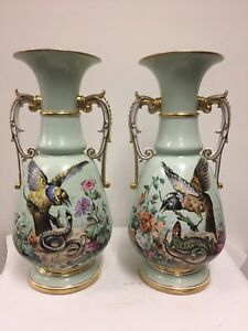 Pair Of Antique Paris Porcelain Two Handled Vases Circa 1900