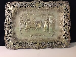 Antique German 800 Dutch Scene Tray