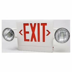 Red Led Exit Sign Emergency Light Combo With Adjustable Side Light Bulbs Rechar