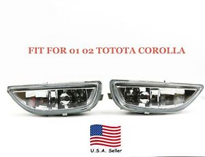 Pair Of Fog Lights Clear Lens Front Driving Lamps For 2001 2002 Toyota Corolla