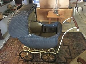 Vintage Reupholstered Wicker Baby Buggy Carriage Pram Fa Whitney Carriage