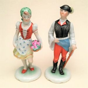 Herend 5812 Peasant Boy With Axe 5811 Peasant Girl With Flowers