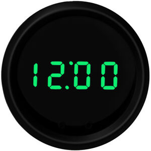 2 1 16 Universal Automotive Digital Clock Green Led Gauge With Black Bezel