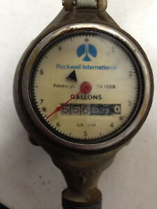 Vintage Steampunk Rockwell Brass Water Meter 5 8 W Original Cover And Base