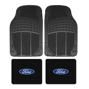 Front Rear Car Truck All Weather Rubber Floor Mats Set Ford Factory Logo Utility