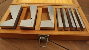8 Pc Precision Angle Block Set Machinist Toolmaker Set W Nice Wood Case