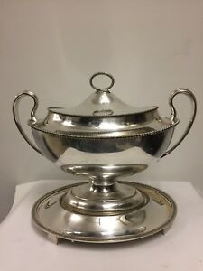 Large Antique American Silver Plated Two Handled Tureen And A Stand
