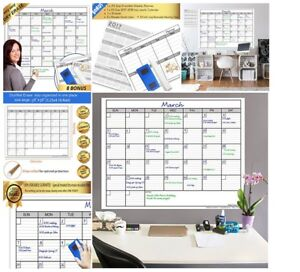 Wall Calendar Task Organizer Dry Erase Monthly Laminated Jumbo 38 inch 50 inch