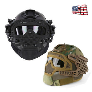 1X Airsoft Paintball Tactical Fast Helmet Mask Goggles G4 System Protective US