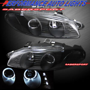 Set Of Black Dual Halo Projector Headlights For 1997 1999 Mitsubishi Eclipse