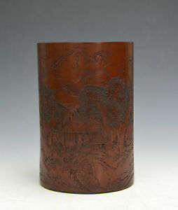 Rare 18th C Chinese Qing Carved Landscape Bamboo Brush Pot With Zhi Yan Mark