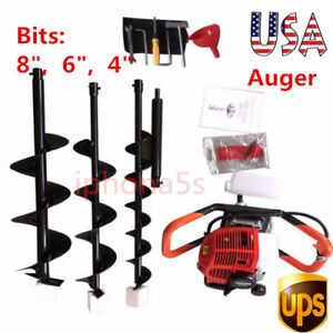 2 3hp Gas Powered Post Hole Digger Earth Auger 52cc Powered Engine 4 6 8 Bit