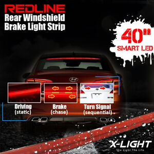 Red High Mount Rear Windshield 3rd 4th Brake tail Sequential Signal Strip Light