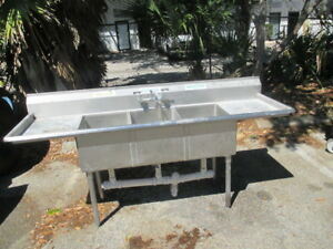 Stainless Steel 3 Bay Wash Rinse Sink 84 Wide 35 Counter 16x20x12 Bays