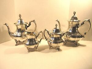 Antique Poole Epca Lancaster Rose 400 Silver Plate Tea Coffee Teapot Set 4 Pc