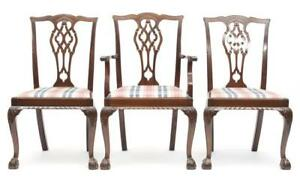 Set Of Five Chippendale Style Dining Chairs