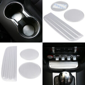Aluminum Alloy Cup Mat Bottom Holder Pad Dustproof Cover Trim For Ford Mustang B
