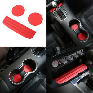 3x Cup Mat Bottom Holder Pad Cover Decoration Trim For 2015 2018 Ford Mustang B