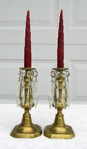 Pair Antique Victorian Brass Crystal English Push Up Candlesticks Candle Holder