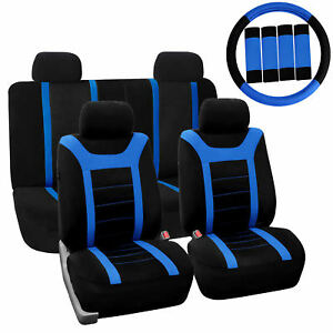 Car Seat Cover For Auto Full Set W steering Wheel Cover belt Pads 4heads Blue