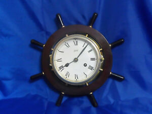 Vtg Aug Schatz Sohne Ship Nautical Bell Clock With Key Tested Working