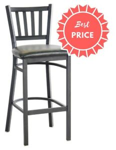 Metal Restaurant Barstool With Black Vinyl Seat Or Burgundy Vinyl Seat Options