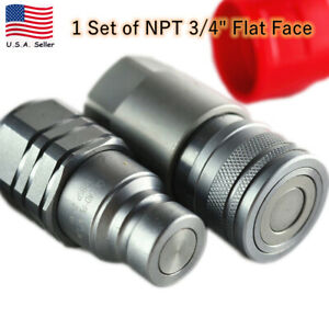 Us New Set Npt 3 4 Skidsteer Flat Face Hydraulic Quick Connect Coupler Coupling