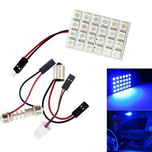 50x Blue 24 Smd 5050 Led Festoon Dome door box Light Panel Interior Bulb 12v Dc
