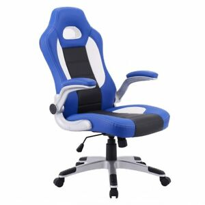 Pu Leather Executive Racing Style Bucket Seat Chair Sporty Office Desk Chair bl