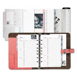 Day timer Pink Ribbon Pink white Loose leaf Organizer Pink white