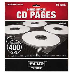 Vaultz Two sided Cd Refill Pages For Three ring Binder 50 pack