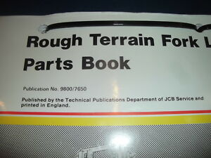 Jcb 930 Rough Terrain Forklift Lift Truck Parts Manual Book Catalog 9800 7650